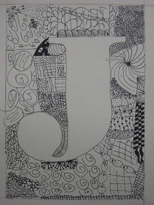Fifth grade initial zentangle project. Good beginning or end of year lesson.