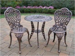 Oakland Living 3005-AB Rose ThreePiece Outdoor Bistro Set by Oakland Living. $323.98. Easy to follow assembly instructions and product care information. Stainless steel or brass assembly hardware. Fade, chip and crack resistant. Made of Rust Free Cast Aluminum Construction. Set includes Bistro Table w Umbrella Opening and 2 Bistro Chairs. Finish:Antique Bronze Tea Rose Three-Piece Bistro Set The Oakland Tea Rose collection is perfect for flower lovers. Each piece is adorned wi...