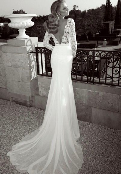 Perfection long sleeve backless lace wedding dress for Lace backless wedding dresses