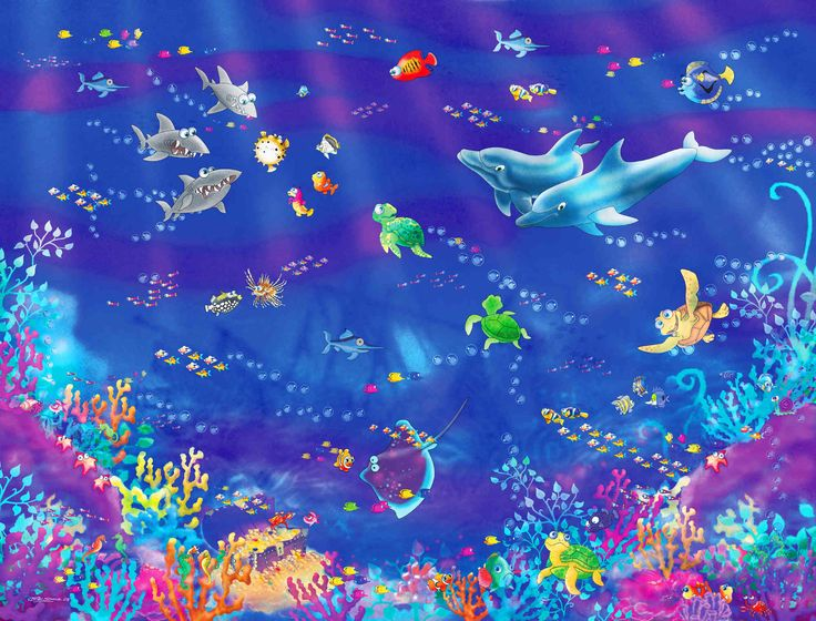 """The Room Under the Sea. Mural """"Fishies"""". A Wallpaper Mural by Muralunique.com. This is an original painting from Birgit Schulz."""