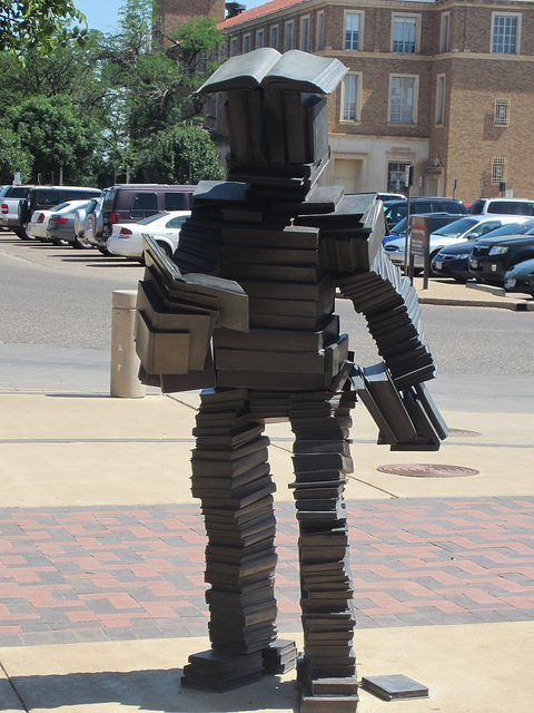 Book Robot! Anyone know where it is? The Answer: It is calledRead Reader - it was done by Terry Allenand it lives aroundthe Texas Tech c...