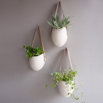 Porcelain Container Small Set/3            by Farrah Sit  Calling all green thumbs! Each planter in this set of three hangs from a vegetable tan leather strap with a solid brass screw. The smooth, bisque exterior is hand-sanded, while the interior is finished with a clear glaze. Perfect as a decorative wall piece to store small gardening tools, or to use as a planter for herbs or air plants.