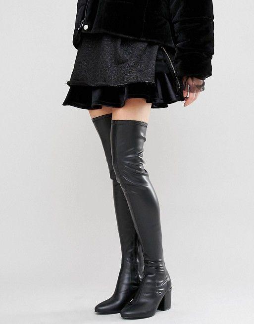 Daisy Street | Daisy Street - Stivali sopra il ginocchio neri con tacco alto