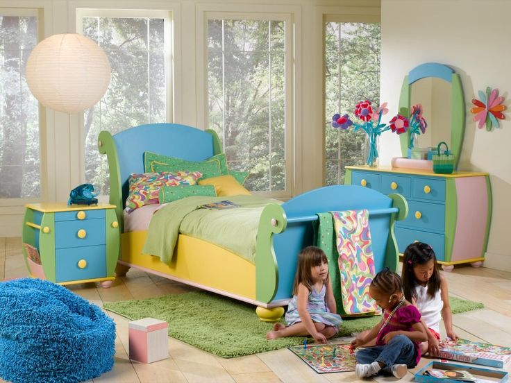 Bedroom More Colourful Kids Bedroom Design For Girl With Blue And Yellow Bedroom Decoration Also