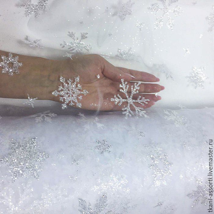Купить Еврофатин снежинки - белый, фатин, еврофатин, ткань для нг, Новогоднее платье, новогоднее украшение