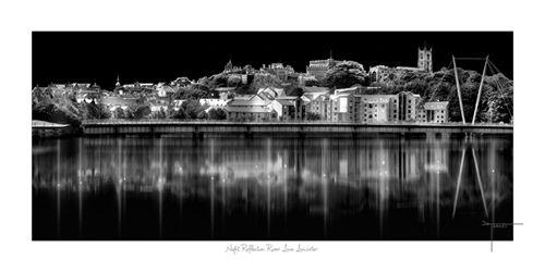 Night Reflection River Lune Lancaster uk by Joseph Tamassy