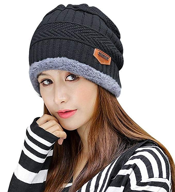 d3300031b4e6 HINDAWI Womens Black Slouchy Beanie Skull Cap Winter Windproof Hat Knitted  Warm Snow Ski Hats