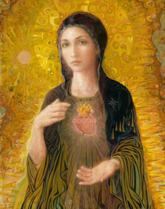 Immaculate Heart of Mary, contemporary Catholic art by family art studio and apostolate inspired by Pope John Paul II, absolutely gorgeous!