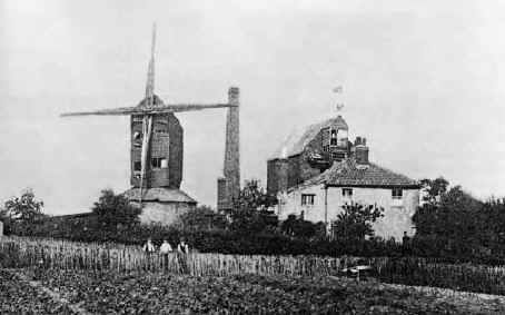 The actual windmill on Windmill Road, Edmonton near Huxley school as it was once known (now Aylward) c.1920. The tall chimney and lack of sails suggests that wind power had by now long given way to steam.
