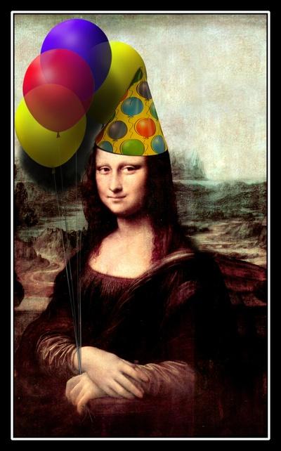 Mona Lisa Birthday Girl Art Print