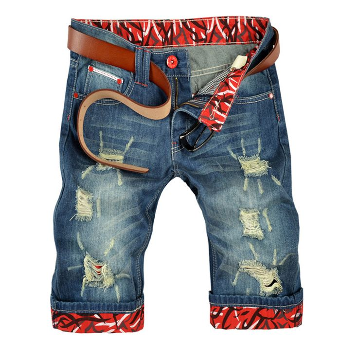 >> Click to Buy << 2017 New Fashion Men Jeans Casual Denim Shorts Summer Fit Punk Distressed Hole Mid-Length Brief Male Shorts Vintage  #Affiliate