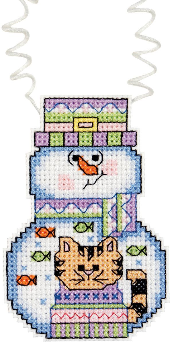 "Holiday Wizzers Snowman With Cat Counted Cross Stitch Kit-3""""X2.25"""" 14 Count"