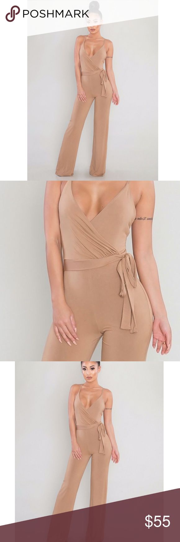 NWT RUCHED BACK JUMPSUIT - CAMEL Simple and effortlessly sexy, this jumpsuit is a must-have. Cut from soft stretch knit with double lining to flatteringly hug your curves, it features a surplice wrap front, cami straps, crossback design, and ruched bottom accent. Adjustable straps 92% polyester, 8% spandex Hand wash cold Pants Jumpsuits & Rompers