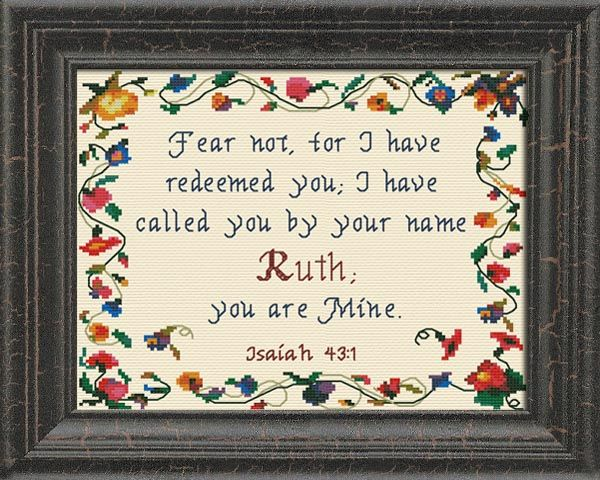 Cross Stitch Ruth with a name meaning and a Bible verse