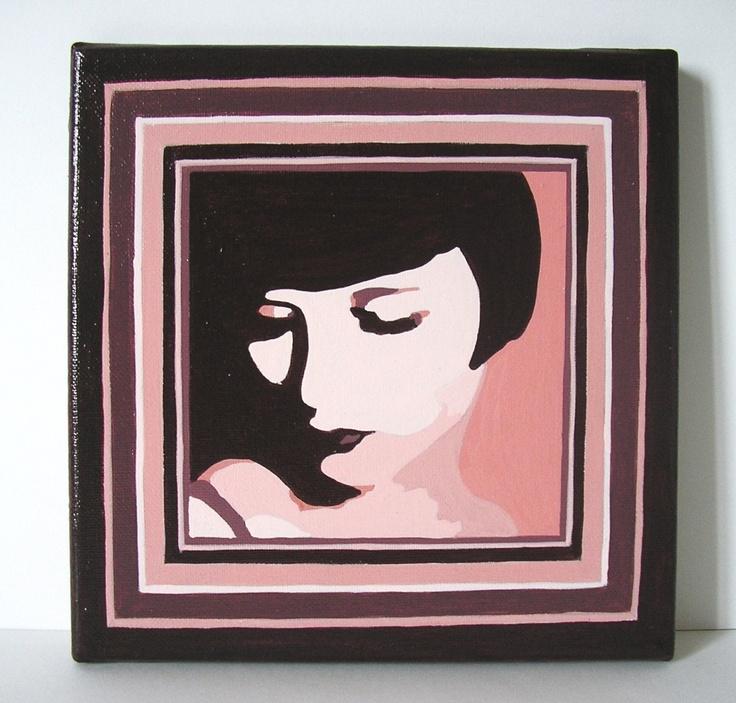 Tableau acrylique sur toile Louise Brooks - 20x20 cm - 20 €