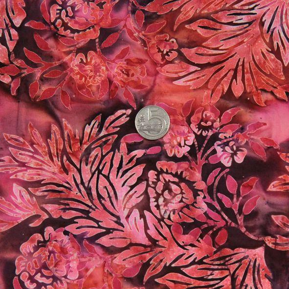 Bavlněná látka Batika Bali květy růžovo-fialové BB Látka vhodná na ubrusy, závěsy, polštáře apod. 100% bavlna, š. 110 cm