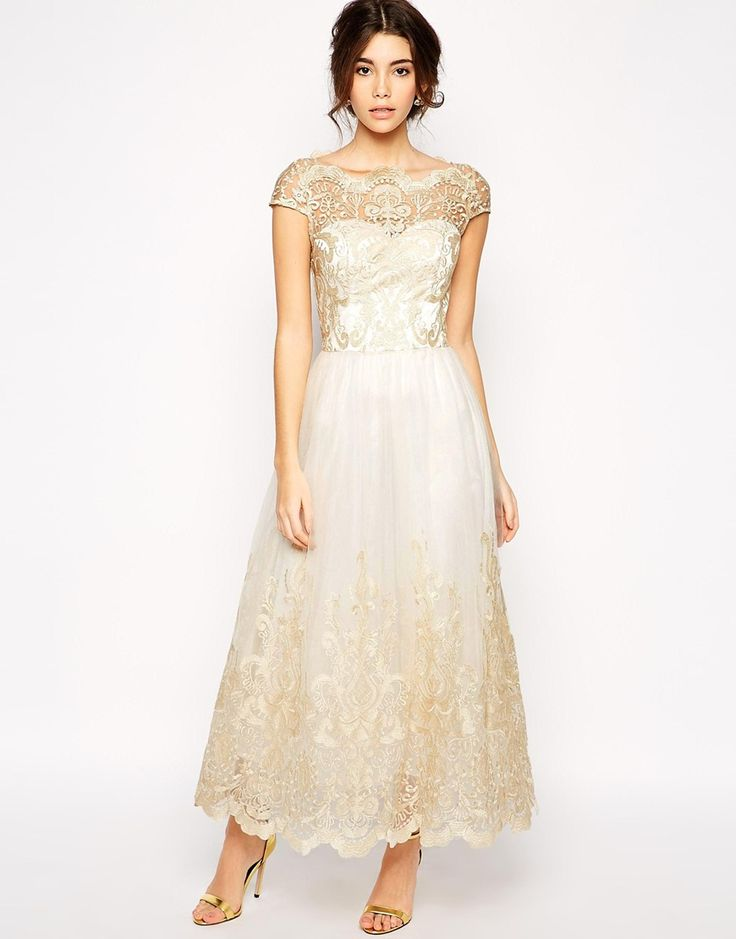 Gorgeous tea length ivory gold lace dress bride style for Lace mid length wedding dresses