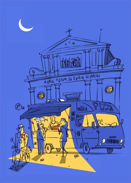 Philippe Doro : Marseille. Camion-pizza. Postcard / illustration.