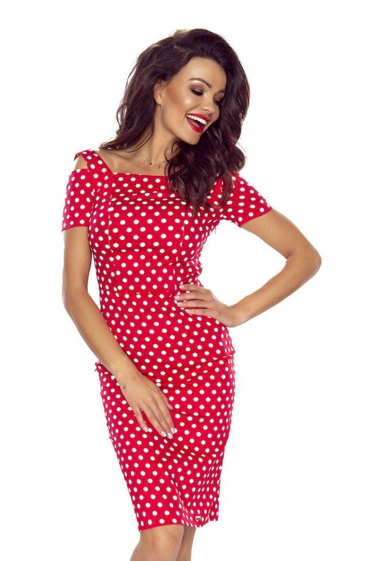Sukienka z Pęknięciem na Ramieniu Czerwona w Grochy BE85-01