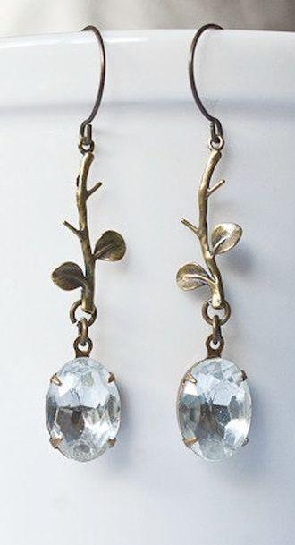 Vintage jewel earrings, crystal dangles