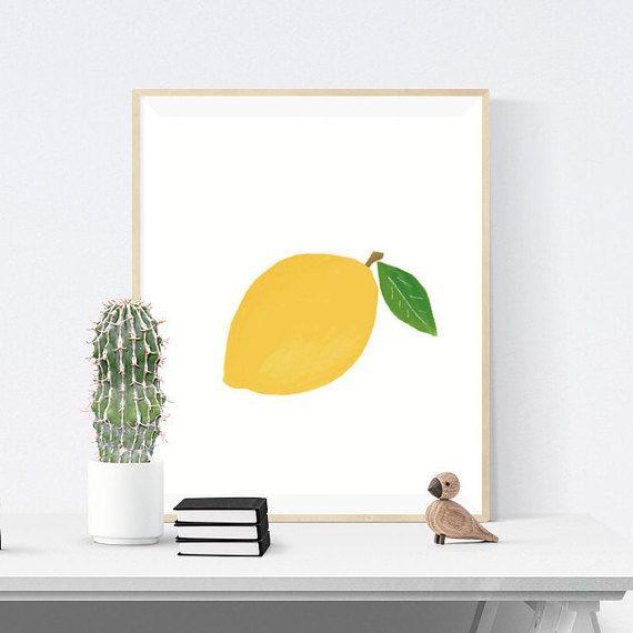 Lemon Digital Download Print, Kitchen Art, Food Illustration, 8x10 inch Print, Instant Download