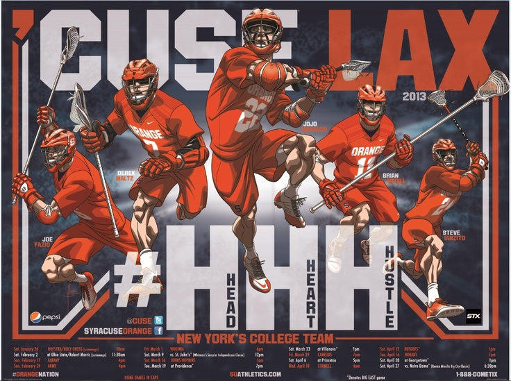 Orange Men's Lacrosse 2013 • #HHH • Illustrated by Mike Borkowski: Sports Team, Orange Men'S, Syracus Lacrosse, Orange Lacrosse, Lax Poster, Syracus Orangemen, Su Lax, Sports Shots, Orangemen Lax