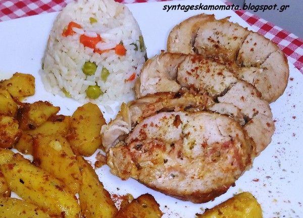 Χοιρινό ρολό γεμιστό με πατάτες στο φούρνο #sintagespareas #pork #maincourse