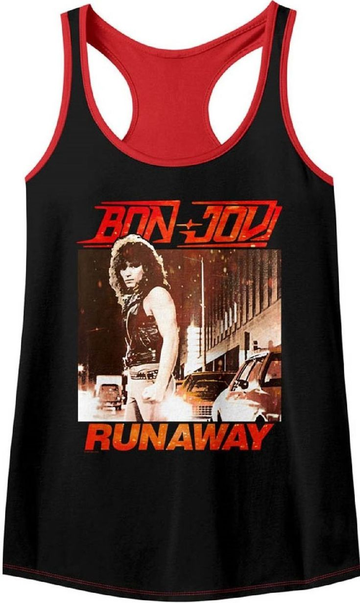 This women's Bon Jovi tank top t-shirt displays the album cover artwork from Runaway, Bon Jovi's first radio single and Top 40 hit.  It peaked at #39, in 1984. Our women's black and red racerback tee is made from a 60/40 cotton-polyester blend and spotlights a close up of a photograph of Jon Bon Jovi, seen on both the Runaway song single and full length Bon Jovi debut album covers, with the Bon Jovi logo and Runaway song title. #bonjovi #bandtees #rockerrags