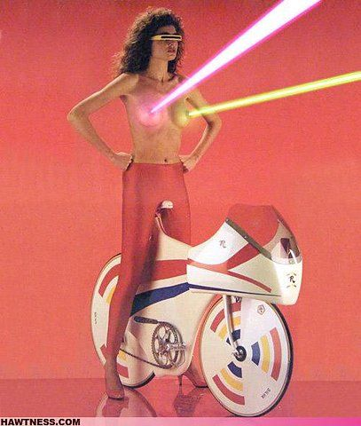 vintage laser boobies: Art Spaces, Riding A Bike, Pew Pew, Girls Power, Funny Commercial, Retro Style, Retro Vintage, Fashion Shoots, Vintage Style