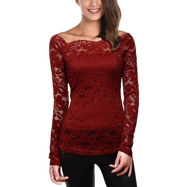 DJT Womens Boat Neck Floral Lace Raglan Long Sleeve Shirt Top ($17) ❤ liked on Polyvore featuring tops, long-sleeve shirt, long sleeve lace top, red shirt, floral tops and long sleeve shirts