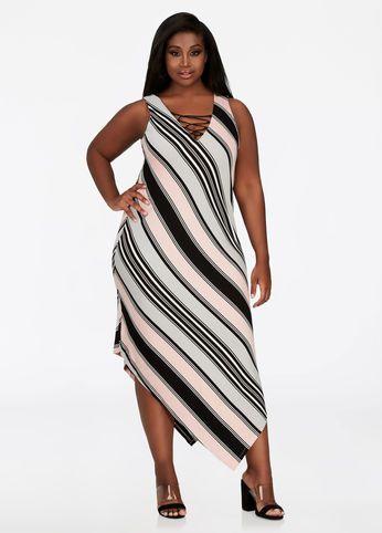 276dc12b0b0 Asymmetrical Hem Striped Dress