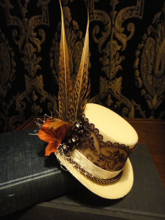 Steampunk Snail Cream Bridal Mini Top Hat by HikariDesign on Etsy, $48.00