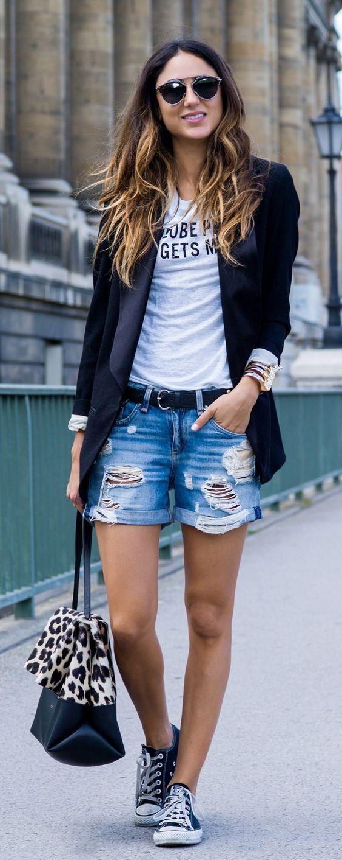 20 façons de porter le short en jeans - Le look à copier: celui de la blogueuse suisse Soraya Bakhtiar. © Pinterest Stayglam