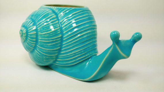 Ceramic Snail Planter   Turquoise Glaze  Handmade  Indoor