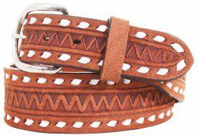 Mens - Hand-Tooled - Double J Saddlery Belt - B744A - Chestnut Rough Out Belt