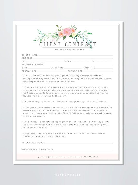 28 Wedding Florist Contract Template In 2020 Contract Template