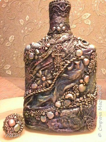 Декор предметов Моделирование конструирование Бутылка то ли терра то ли дно морское  + мини МК Бутылки стеклянные Гипс Камень Краска Материал природный Ракушки фото 1