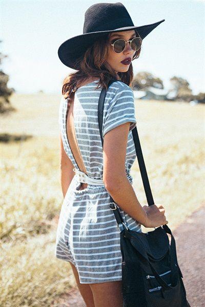 Grey Stripe Playsuit | SABO SKIRT