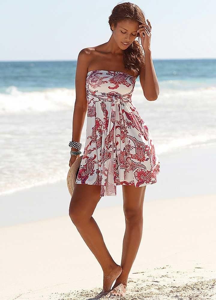 lascana white paisley print 5 in 1 dress  beach dresses