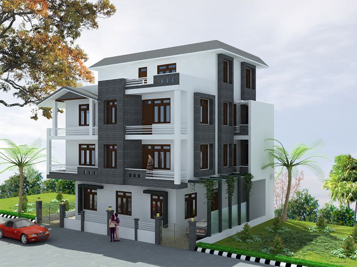 3 bedroom, modern triplex (3 floor) house design.Click on this link (http://www.apnaghar.co.in/pre-design-house-plan-ag-page-63.aspx) to view free floor plans (naksha) and other specifications for this design. You may be asked to signup and login. Website: www.apnaghar.co.in, Toll-Free No.- 1800-102-9440, Email: support@apnaghar.co.in
