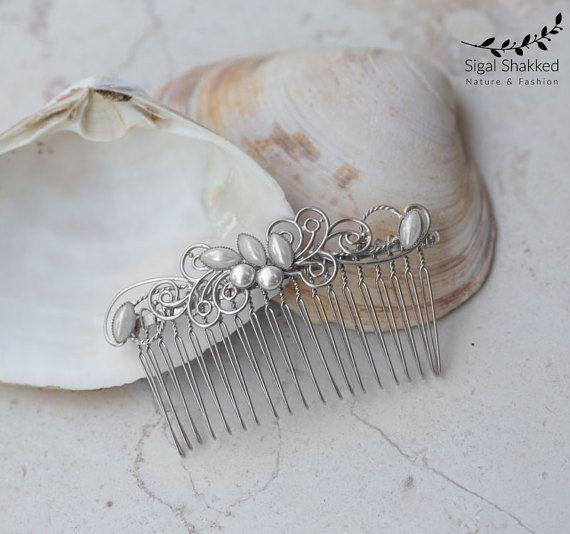 Dekorative Kamm Silber Perle Kamm Hochzeit von sigalshakkedjewelry