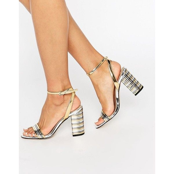 ALDO Izabela Stripe Heeled Sandals featuring polyvore, women's fashion, shoes, sandals, gold, high heel shoes, gold ankle strap sandals, gold high heel sandals, high heel sandals and aldo shoes
