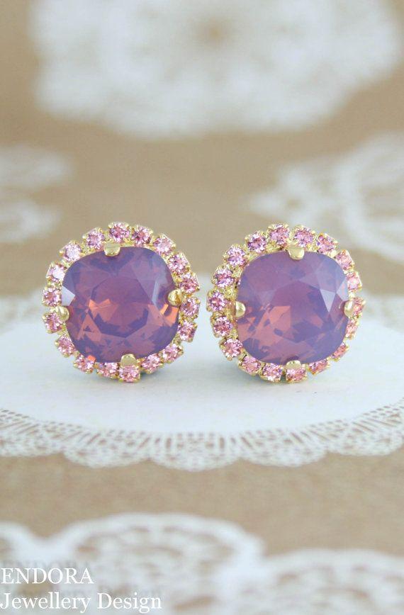 Kristall Ohrringe lila lila earrings.pink und von EndoraJewellery
