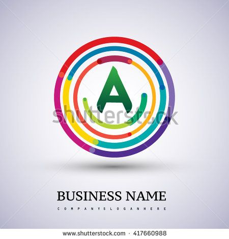 Letter A vector logo symbol in the colorful circle thin line. Vector design template elements for your application or company identity. - stock vector