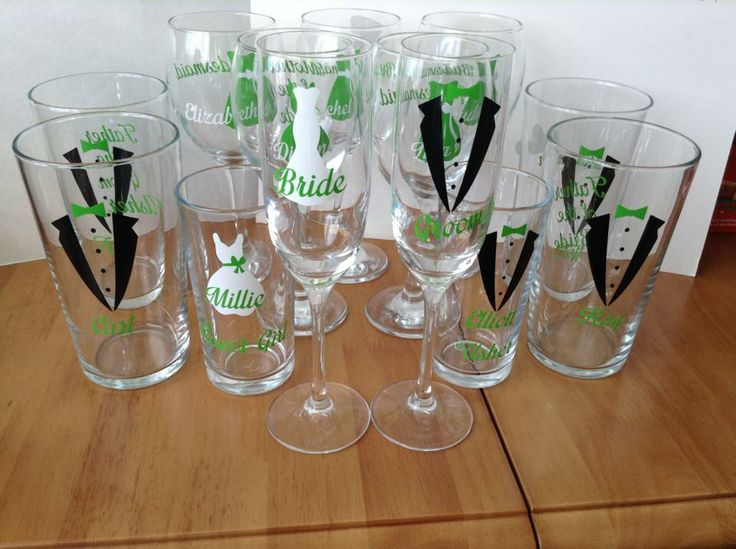 Personalised wedding party glasses - lovely favours or for your top table - champ/wine/pint/whiskey/tumblers - available in different colours / dress styles