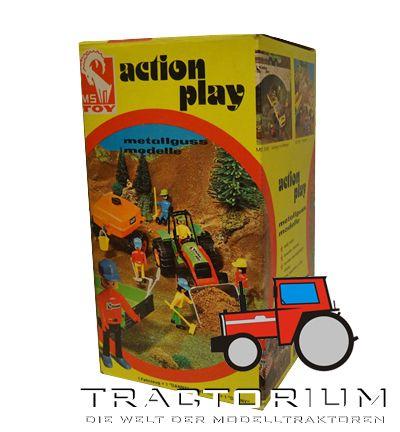 Box MS Toy 5879 Traktor mit Frontlader und Fassanhänger ca. 1/16