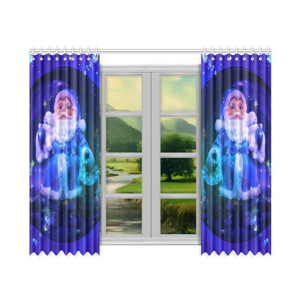 "Blue Santa Claus Window Curtain 50""x84""(Two Piece) ($82) ❤ liked on Polyvore featuring home, home decor, window treatments, curtains, blue window treatments, blue curtains, blue home decor, blue draperies and blue home accessories"