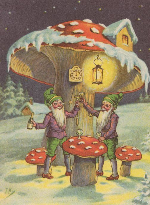 Gnomes Toasting to the New Year Vintage Gnome Image by Gnomeworld, $1.99