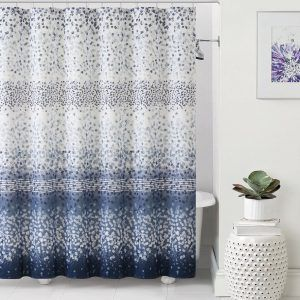 Dark Blue And White Shower Curtains