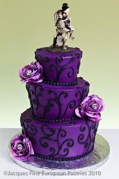 Purple Skull Wedding Cake I could really deal without the ugly topper on such a beautiful cake